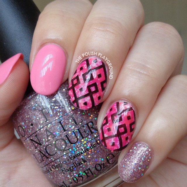 Pink Saran Wrap with Black Geometric Stamping Nail Art
