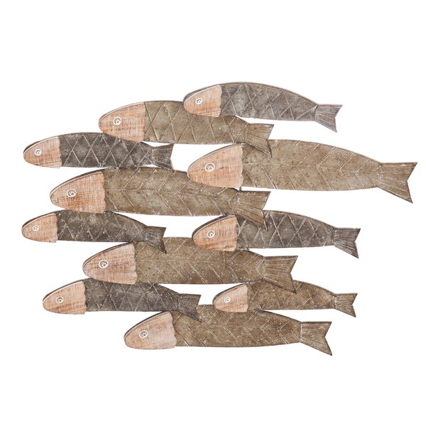 School of Fish Metal and Wood Wall Décor