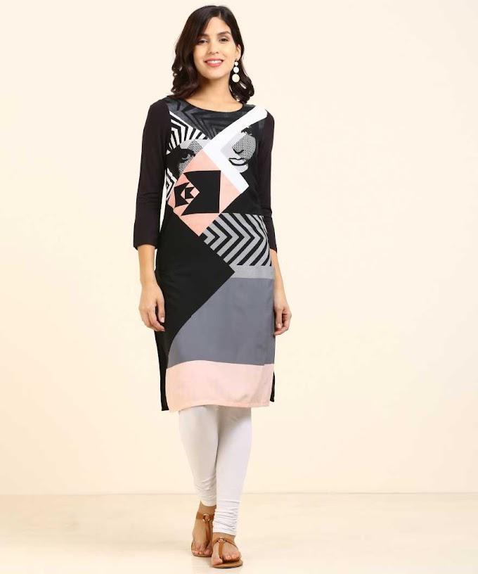 Rs,465/- Women Printed Straight Kurta  (White, Black, Pink)