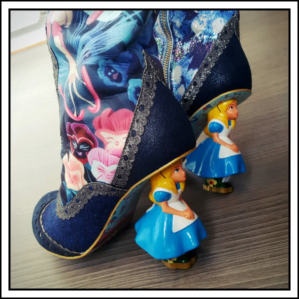 wearing irregular choice alice character heel lost your muchness boots
