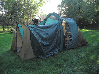 Kendrick observing tent in backyard, looking in the north door