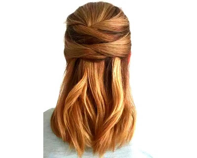 Pulled Criss-Cross Half-Up Hairdo