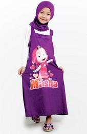 Baju gamis muslim untuk lebaran anak perempuan motif masha