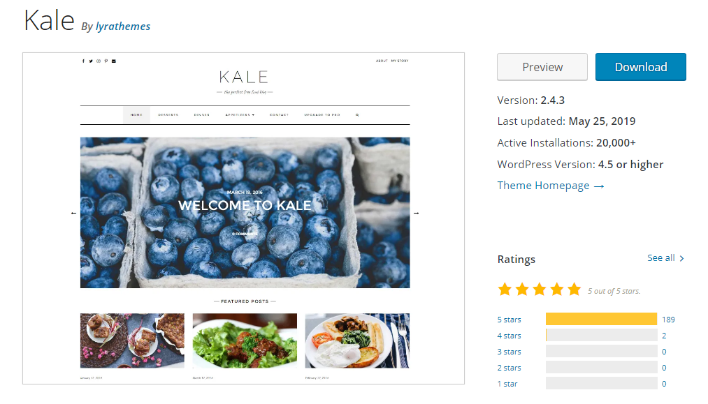 kale theme for wordpress