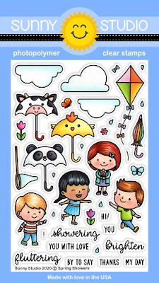 Sunny Studio Stamps: Spring Showers Kite, Critter Umbrella & Butterfly Net Kids 4x6 Clear Photopolymer Stamp Set