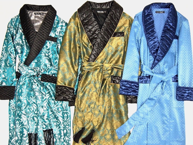 Men's luxury silk dressing gown robe extra long