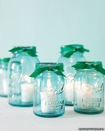 Frascos con velitas do it yourself para una boda