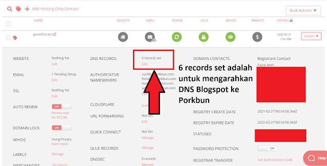 6 records set DNS Blogspot ke Porkbun