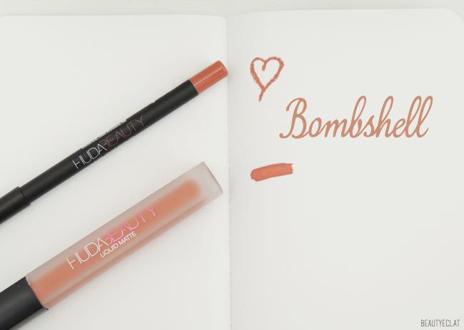 revue avis test huda beauty lip contour liquid matte bombshell swatch swatchs