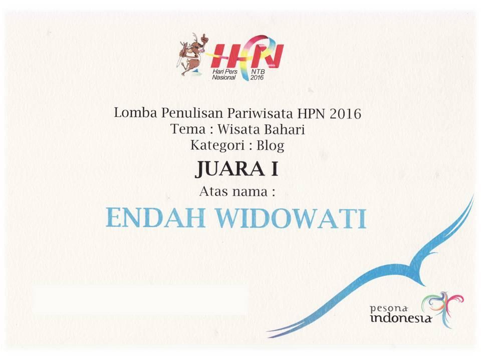 Juara I Lomba Penulisan Pariwisata HPN 2016