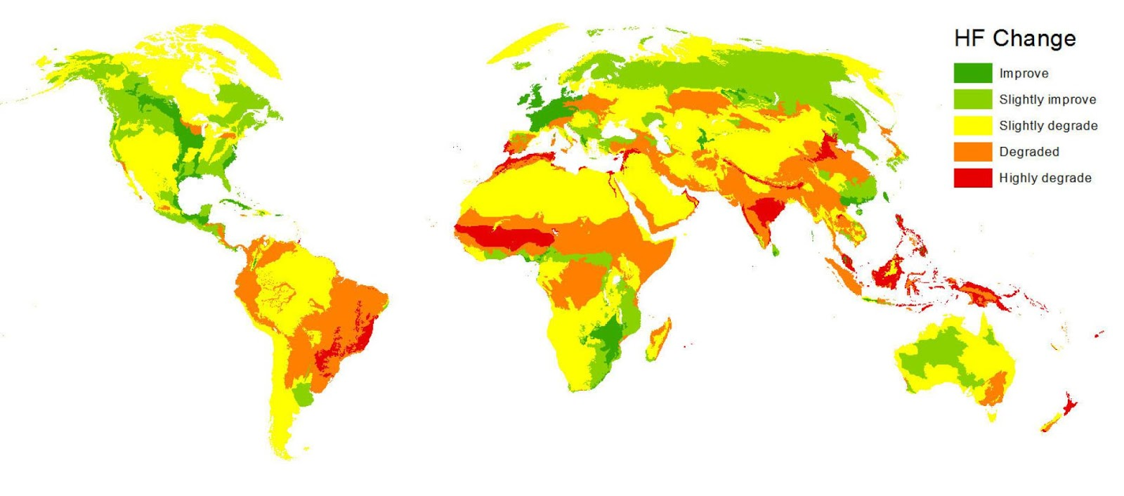This map shows where humans' impact on the environment increased or decreased (1993 - 2009)
