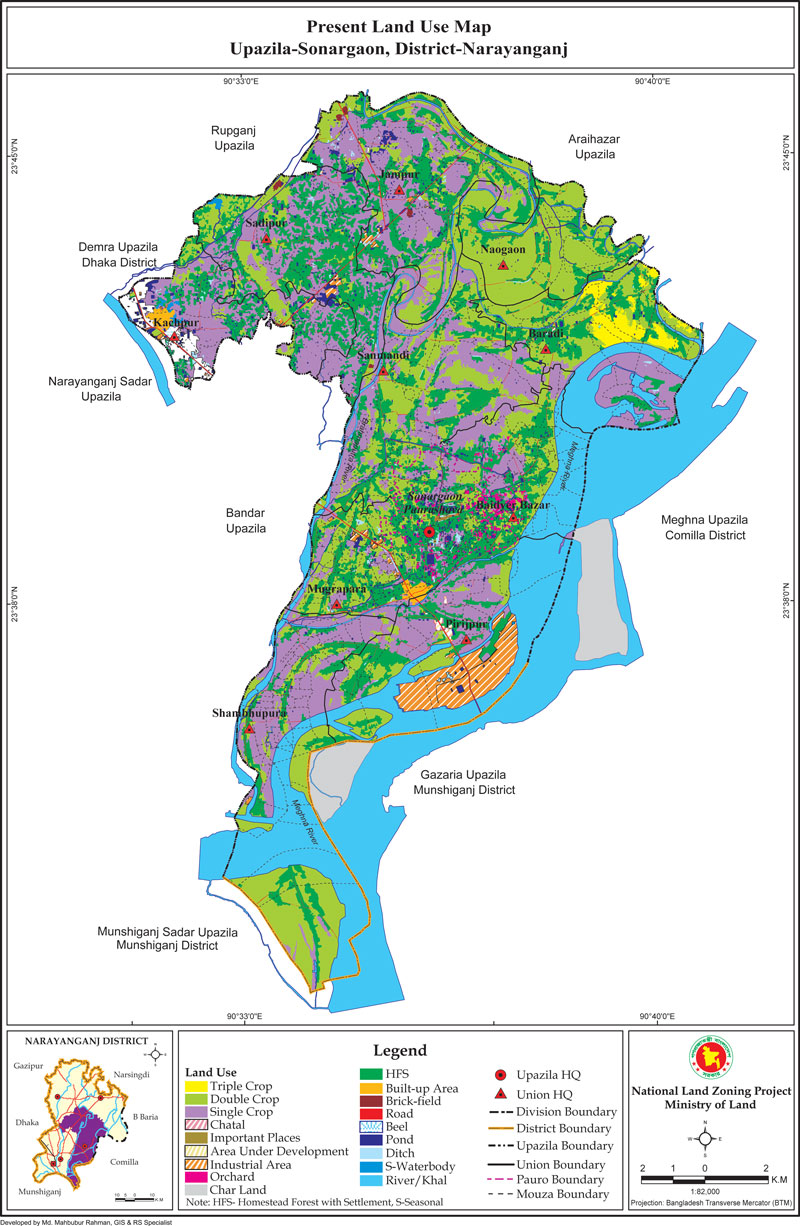 Sonargaon Upazila Mouza Map Narayanganj District Bangladesh