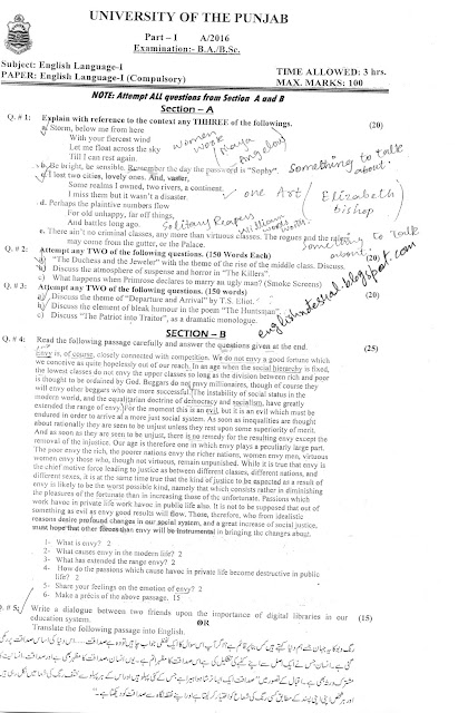 BA English Notes,PU,UoS,IUB: paper ba English 3rd year