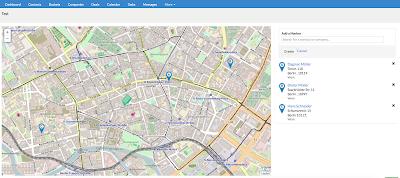 Screenshot des Maps-Features in karmaCRM, einer Karte auf der die Adresse von Kontakte angezeigt wird.