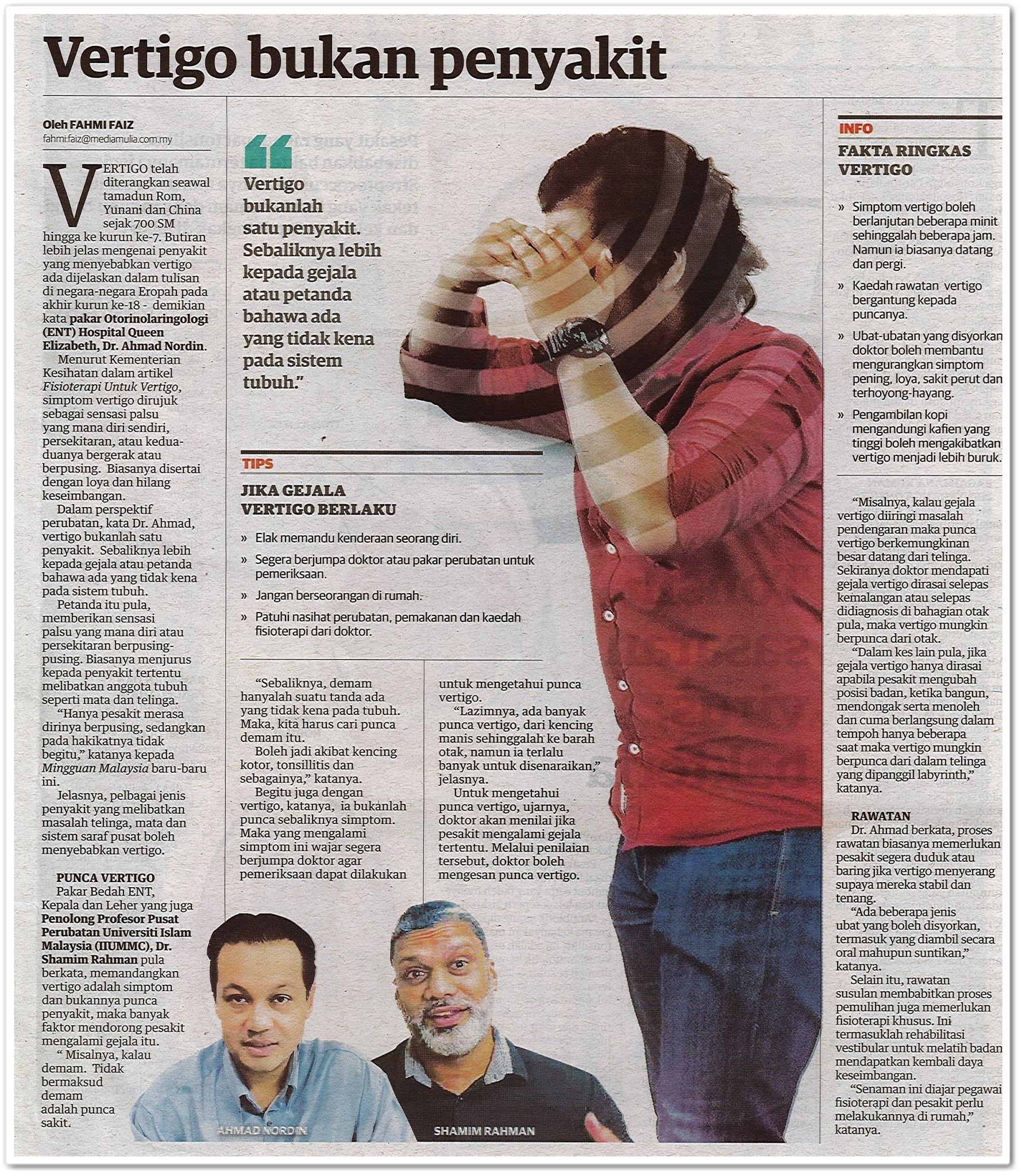 Vertigo bukan penyakit - Keratan akhbar Mingguan Malaysia 9 Ogos 2020