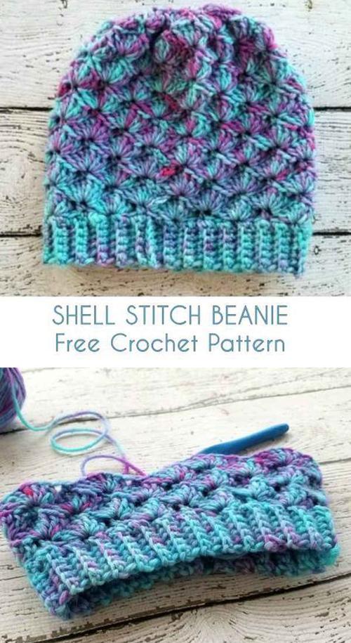 Shell Stitch Beanie - Free Crochet Pattern