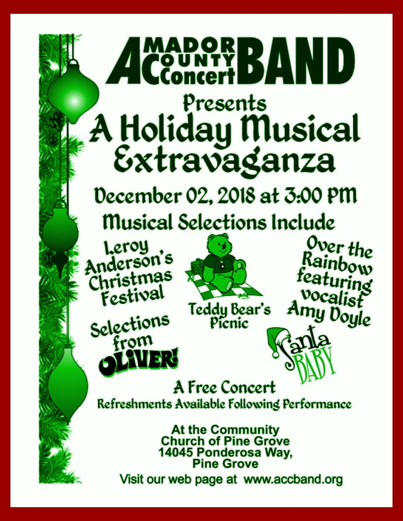Amador County Concert Band: A Holiday Musical Extravaganza - Sun Dec 2
