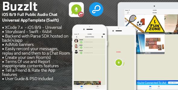 Download Free Buzz It   iOS Universal Public Audio Chat App