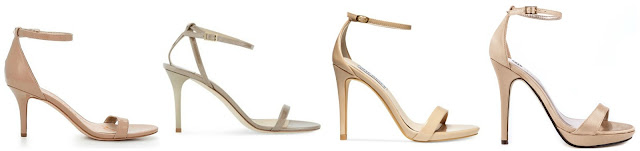 One of these pairs of nude sandals is from Jimmy Choo for $795 and the other three are under $100. Can you guess which one is the designer pair? Click the links below to see if you are correct!