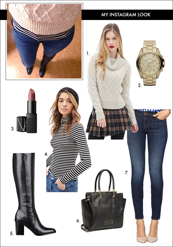 chunky knit sweater, layering for winter, stripes, nars lipstick, michael kors watch, nordstrom, skinny jeans, what to wear winter