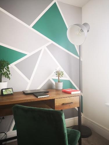 geometric painted wall what claire did