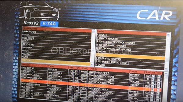 KTAG Reads Bosch ME 9.7 from Mercedes S350 (W221) 2006 1