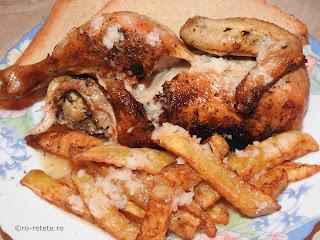 Pui cu cartofi si mujdei reteta friptura de carne pasare cu sos de bere la cuptor retete culinare fripturi mancaruri preparate prajiti usturoi paine,