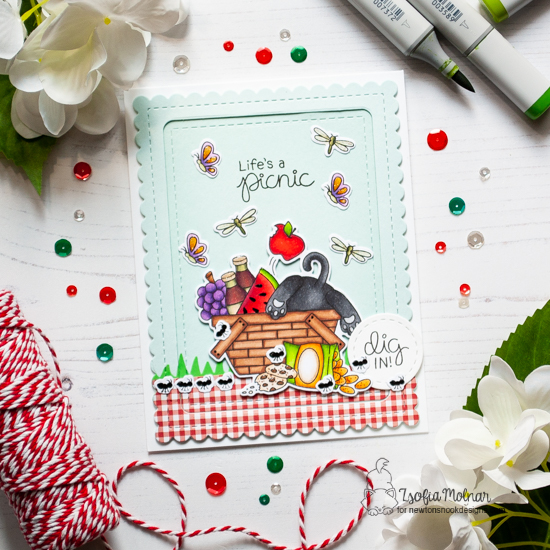 Picnic Cat Card by Zsofia Molnar | Newton's Picnic Stamp Set and Land Borders Die Set by Newton's Nook Designs #newtonsnook #handmade
