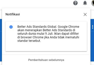 Notification Better Ads Standards Global on AdSense, What is the Purpose and Effect