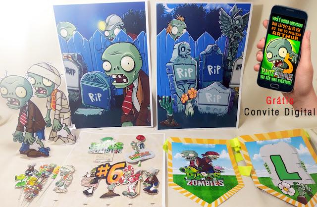 kit Festa em Casa Zumbi Plants vs Zombie dicas e ideias para festa  personalizadas Monte seu kit Guloseimas