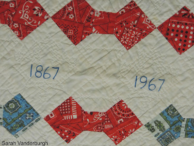 center dates on Canada centennial quilt