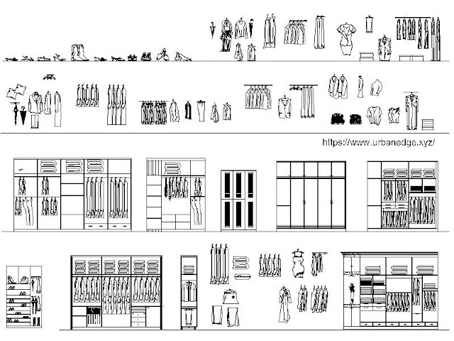 Wardrobe & Closets CAD Blocks Elevation  and storage for interior