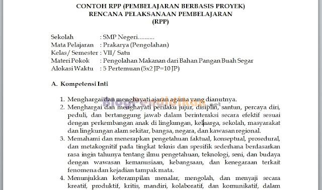 Contoh RPP Berbasis Proyek Untuk SMP dan SMA