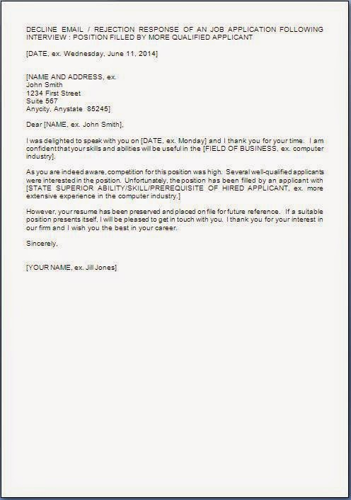 Rejection letter to applicants after interview Coursework Help