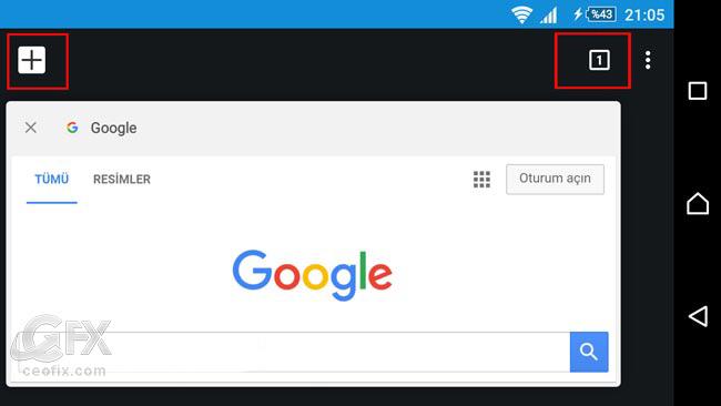 Google Chrome Sekmeler Arası Geçiş