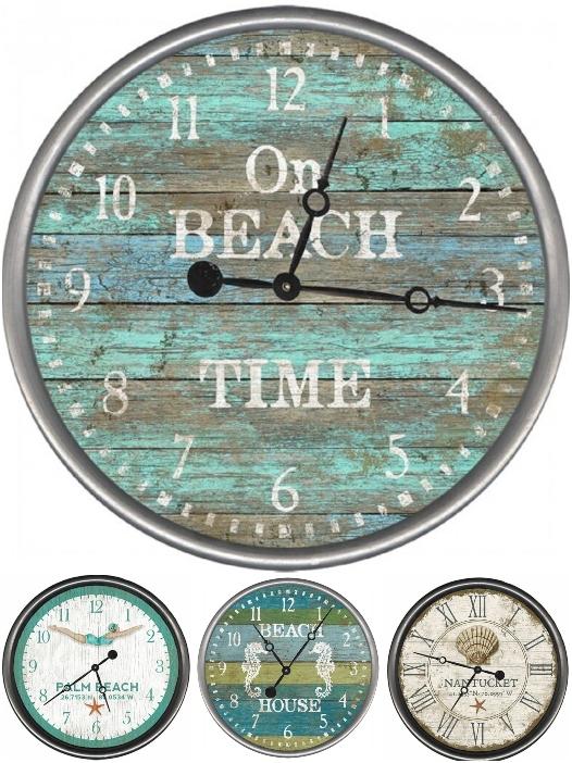 Coastal Beach Wood Wall Clocks