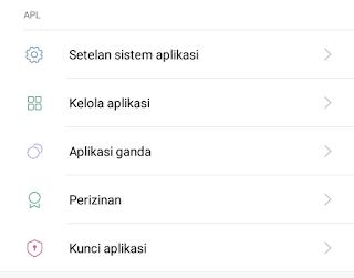 pilih menu kunci aplikasi
