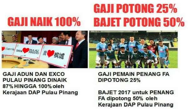 Potong Gaji Pemain Bola 25% Selepas Kerajaan DAP Pulau Pinang Naikkan Gaji ADUN Dan EXCO sebanyak 87% hingga 100%