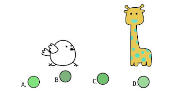 Alt 4 Q 11. Color bird wonders what the giraffe's two colors mixed together would look like. Which berry shows that combination?