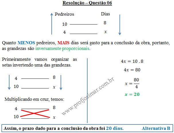 Questão 06 - Regra de três simples