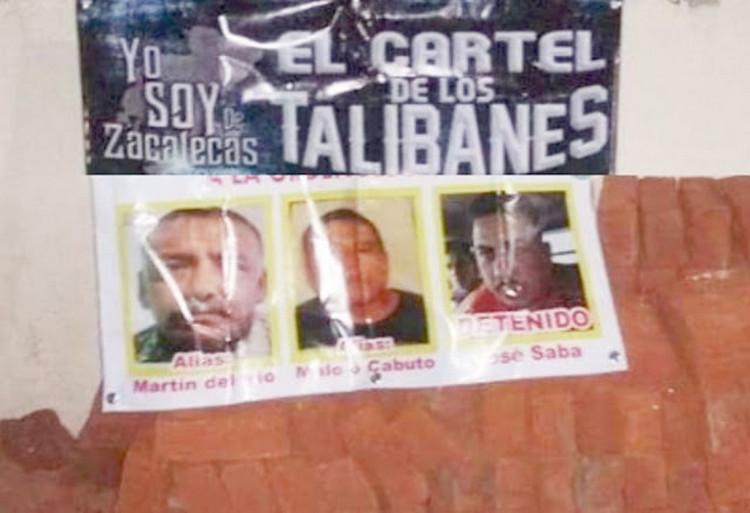 """""""No manchen nuestro nombre pinches traicioneros"""", Sicarios del """"Cartel de Los Talibanes"""" amenaza a quienes firman mantas con su nombre en Zacatecas"""
