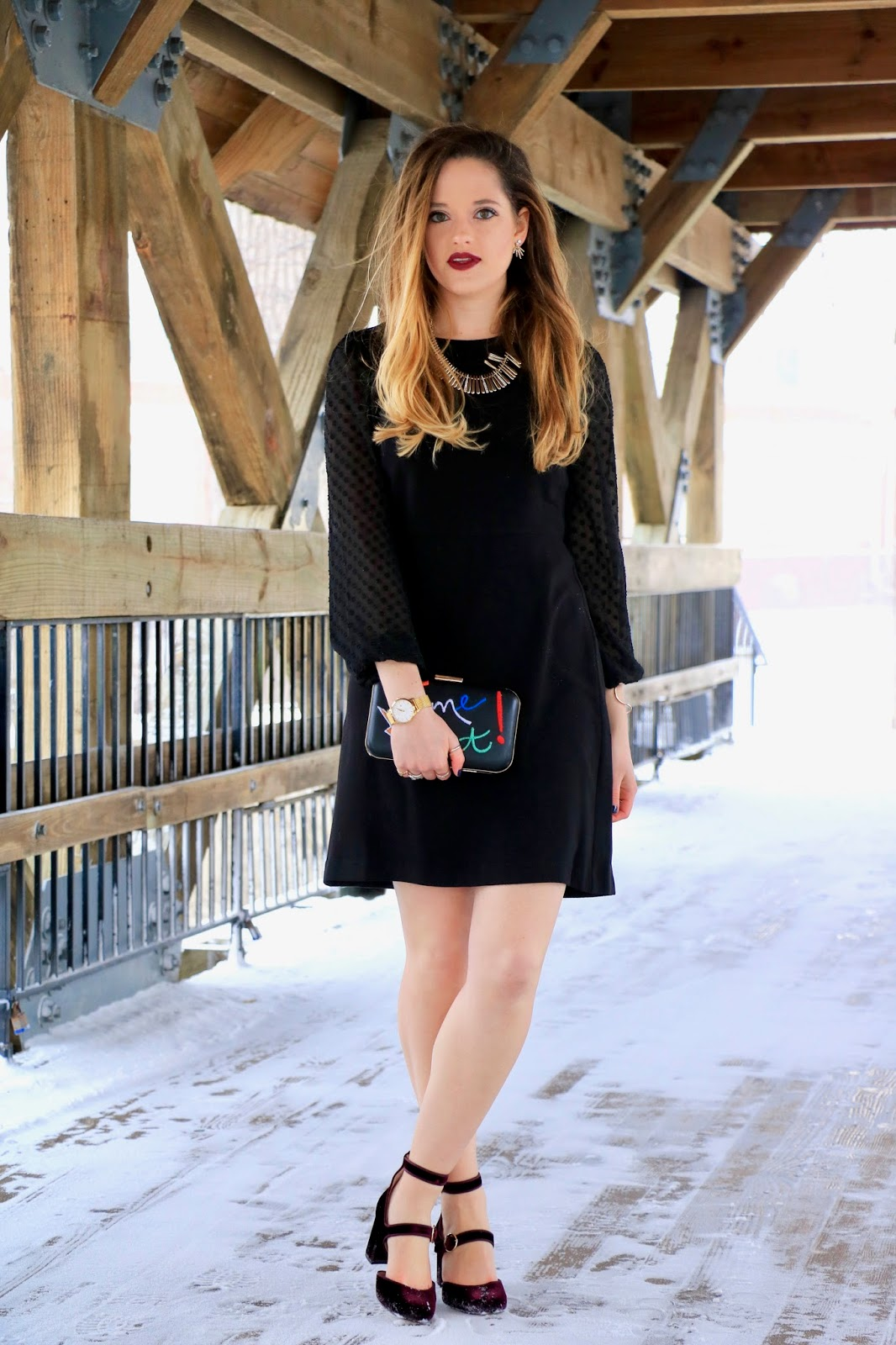 Nyc fashion blogger Kathleen Harper wearing a winter black dress LBD