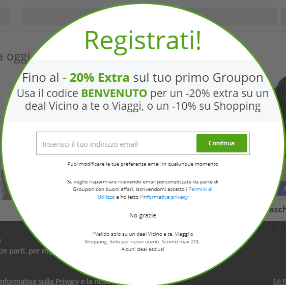 Come iscriversi a Groupon
