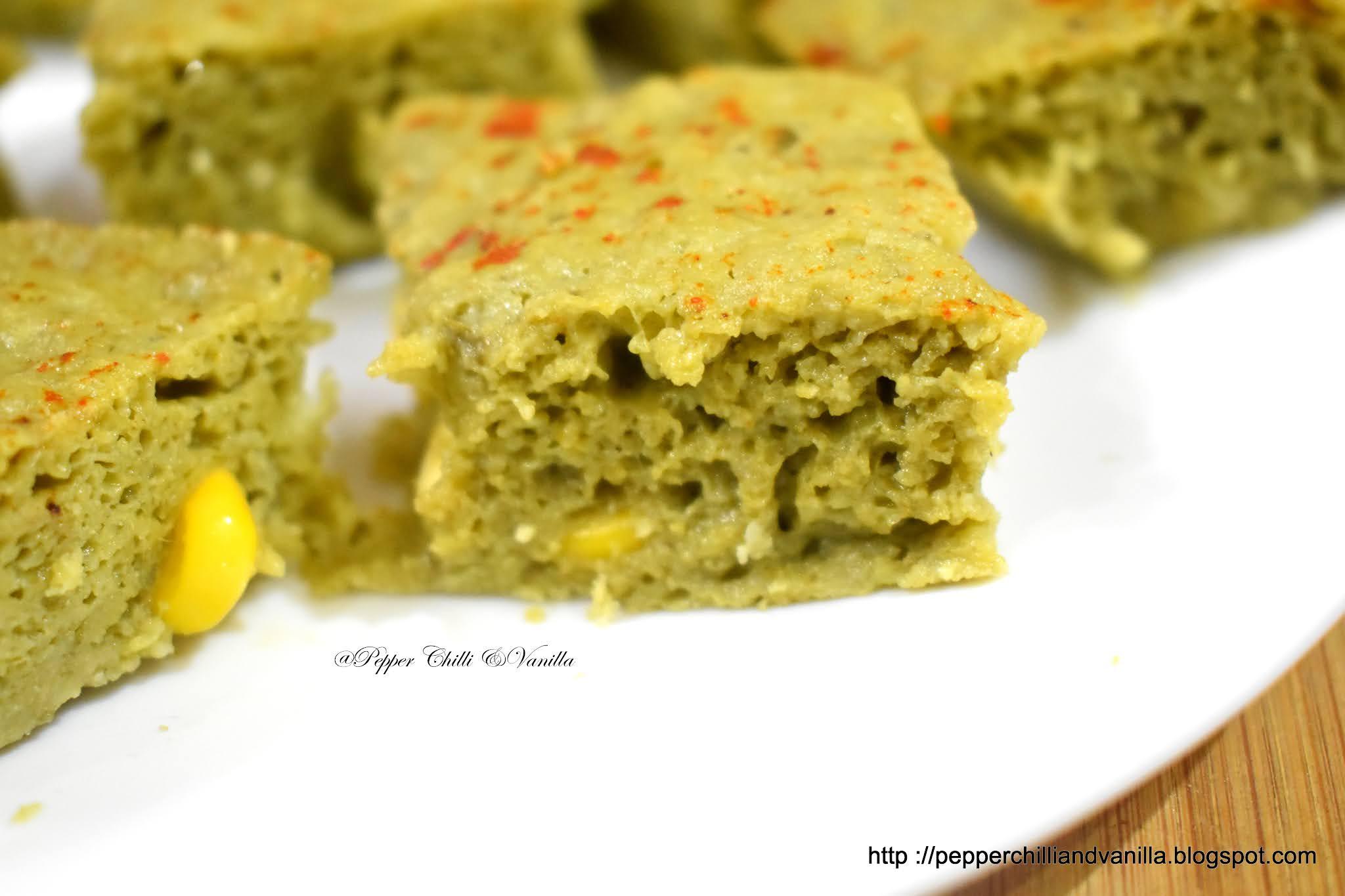 khatta dhokla with spinach/palak corn khatta dhokla