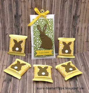 easter bunny treat punch art stampin up punches cat, daisy, fox verpackung für süßigkeiten ostern stampin up stanzen fuchs, katze, Gänseblümchen und baum