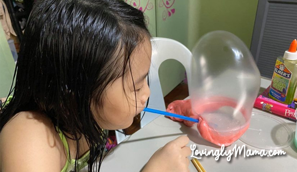 blowing bubbles using slime