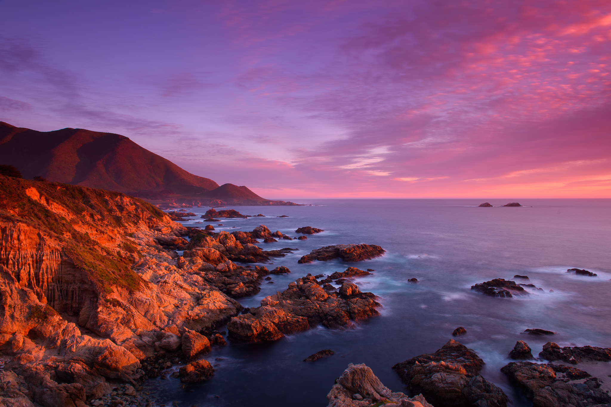 a photo of the big sur coast at sunset california
