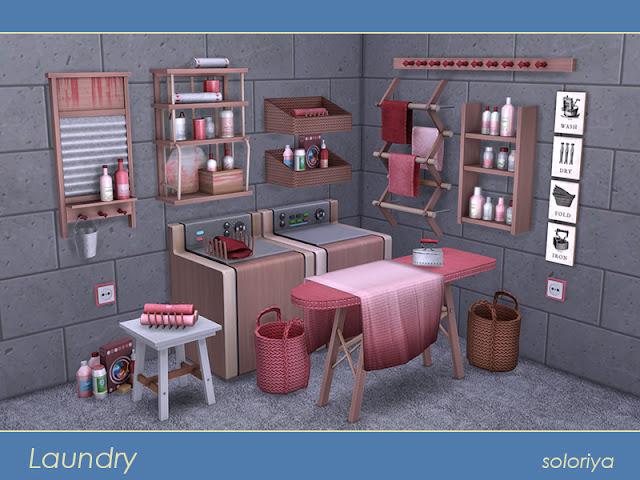 Laundry Прачечная для The Sims 4 Набор для стирки. Включает в себя 18 предметов, имеет 3 цветовых вариации. Предметы в наборе: - декоративная стиральная машина - декоративная сушилка - 3 декора стены - 3 вида полотенец -- мешок -- гладильная доска - ткань для гладильной доски - старальная доска - розетка - вешалка - полка - фотографий - набор для чистки - стол в прихожей. Автор: soloriya