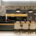 Espaço gourmet contemporâneo preto e cinza com madeira freijó e pedra basalto cinza!