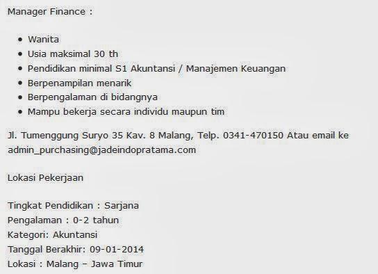 Lowongan Kerja Bca Finance Malang Lowongan Kerja Loker Terbaru Bulan September 2016 Lowongan Kerja Terbaru Malang Januari 2014 Jade Indopratama Portal